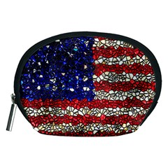American Flag Mosaic Accessory Pouch (medium) by bloomingvinedesign