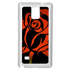 Red Rose Etching On Black Samsung Galaxy Note 4 Case (white) by StuffOrSomething