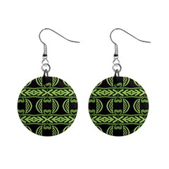 Green Shapes On A Black Background Pattern 1  Button Earrings by LalyLauraFLM