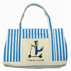 A Dog On A Scooter Blue Striped Tote Bag by retz