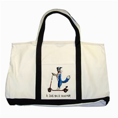 A Dog On A Scooter Two Toned Tote Bag by retz