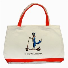 A Dog On A Scooter Classic Tote Bag (red) by retz