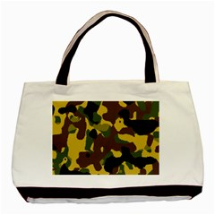 Camo Pattern  Twin Sided Black Tote Bag by Colorfulart23
