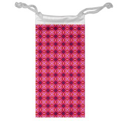 Abstract Pink Floral Tile Pattern Jewelry Bag by creativemom