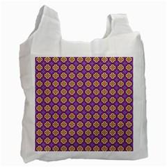 Purple Decorative Quatrefoil White Reusable Bag (one Side)