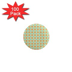 Aqua Mint Pattern 1  Mini Button Magnet (100 Pack)