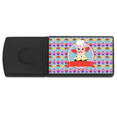 Cupcake With Cute Pig Chef 4gb Usb Flash Drive (rectangle)