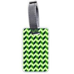 Green Modern Retro Chevron Patchwork Pattern Luggage Tag (two Sides) by creativemom