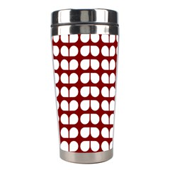 Red And White Leaf Pattern Stainless Steel Travel Tumbler by creativemom