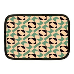 Brown Green Rectangles Pattern Netbook Case (medium) by LalyLauraFLM