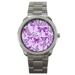 Purple Awareness Butterflies Sport Metal Watch