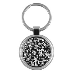 Background Noise In Black & White Key Chain (round) by StuffOrSomething