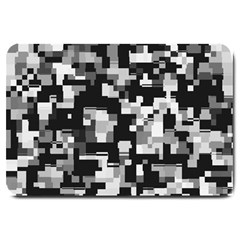 Background Noise In Black & White Large Door Mat by StuffOrSomething