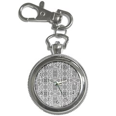 Grey White Tiles Geometry Stone Mosaic Pattern Key Chain Watch by yoursparklingshop