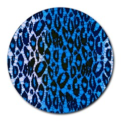 Florescent Blue Cheetah  8  Mouse Pad (round) by OCDesignss