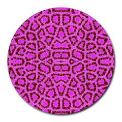 Florescent Pink Animal Print  8  Mouse Pad (round) by OCDesignss