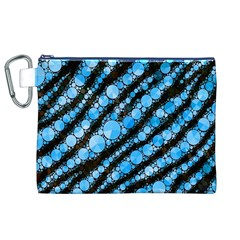 Bright Blue Tiger Bling Pattern  Canvas Cosmetic Bag (xl) by OCDesignss