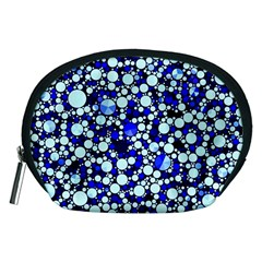 Bright Blue Cheetah Bling Abstract  Accessory Pouch (medium) by OCDesignss