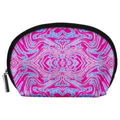 Trippy Florescent Pink Blue Abstract  Accessory Pouch (large) by OCDesignss