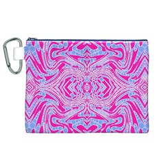 Trippy Florescent Pink Blue Abstract  Canvas Cosmetic Bag (xl) by OCDesignss