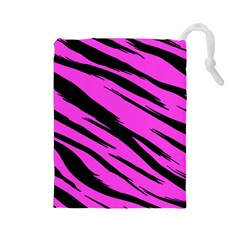Pink Tiger Drawstring Pouch (large) by ArtistRoseanneJones