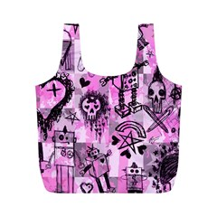 Pink Scene Kid Sketches Reusable Bag (m) by ArtistRoseanneJones
