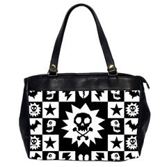 Goth Punk Skull Checkers Oversize Office Handbag (two Sides) by ArtistRoseanneJones