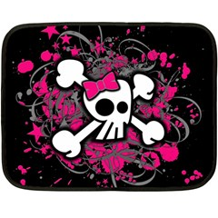 Girly Skull And Crossbones Mini Fleece Blanket (two Sided) by ArtistRoseanneJones