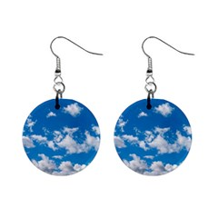 Bright Blue Sky Mini Button Earrings by ansteybeta