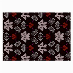 Floral Pattern On A Brown Background Large Glasses Cloth (2 Sides) by LalyLauraFLM