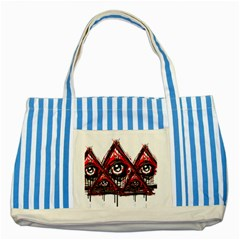 Red White Pyramids Blue Striped Tote Bag by teeship