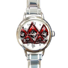 Red White Pyramids Round Italian Charm Watch