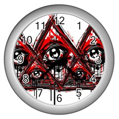 Red White Pyramids Wall Clock (silver)