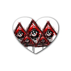 Red White Pyramids Drink Coasters 4 Pack (heart)