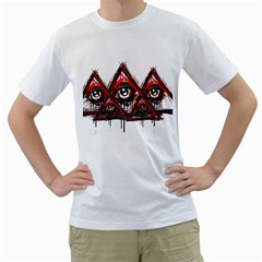 Red White Pyramids Men s T Shirt (white)