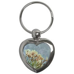 Floral Grunge Vintage Photo Key Chain (heart) by dflcprints