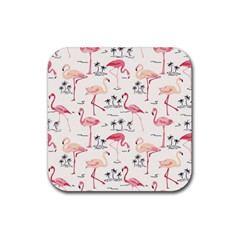 Flamingo Pattern Rubber Square Coaster (4 Pack)  by Contest580383