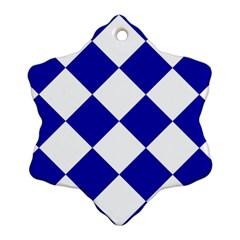 Harlequin Diamond Pattern Cobalt Blue White Snowflake Ornament (2 Side)