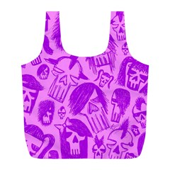 Purple Skull Sketches Full Print Recycle Bags (l)  by ArtistRoseanneJones