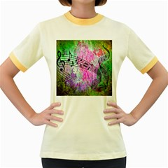 Abstract Music  Women s Fitted Ringer T Shirts