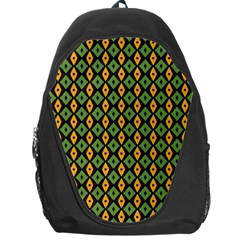 Green Yellow Rhombus Pattern Backpack Bag by LalyLauraFLM