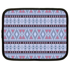 Fancy Tribal Border Pattern Blue Netbook Case (xl)  by ImpressiveMoments