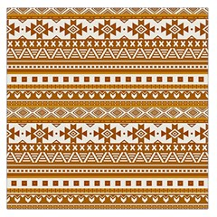 Fancy Tribal Borders Golden Large Satin Scarf (square)