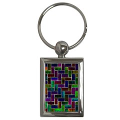 Colorful Rectangles Pattern Key Chain (rectangle) by LalyLauraFLM