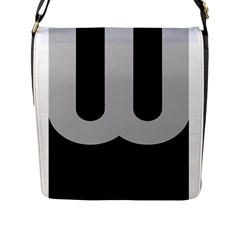 Black Grey Abstract  Flap Messenger Bag (L)  by OCDesignss