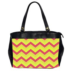 Chevron Yellow Pink Office Handbags (2 Sides)  by ImpressiveMoments