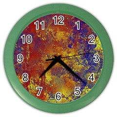 Abstract in Gold, Blue, and Red Color Wall Clocks by theunrulyartist