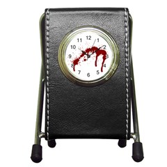 Blood Splatter 6 Pen Holder Desk Clocks by TailWags