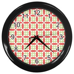 Cute Seamless Tile Pattern Gifts Wall Clocks (black) by creativemom