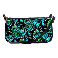Bright Aqua, Black, And Green Design Shoulder Clutch Bags by digitaldivadesigns